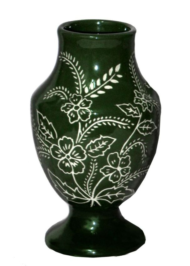 Carved Decorative Small Vase in Green