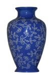 Carved Decorative Vase in Blue