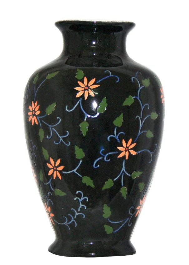 Hand Painted Black Decorative Vase