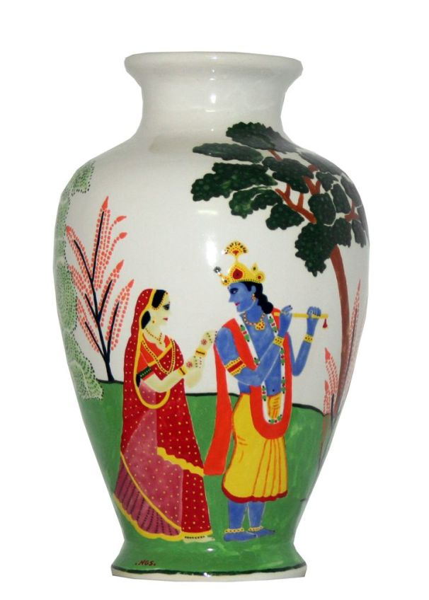 Hand Painted Radha Krishna Vase