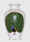 Painted Decorative Vase with Peacock Design