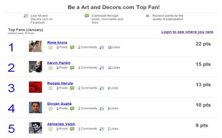 Art and Decors Shining Stars Facebook Loyalty Program